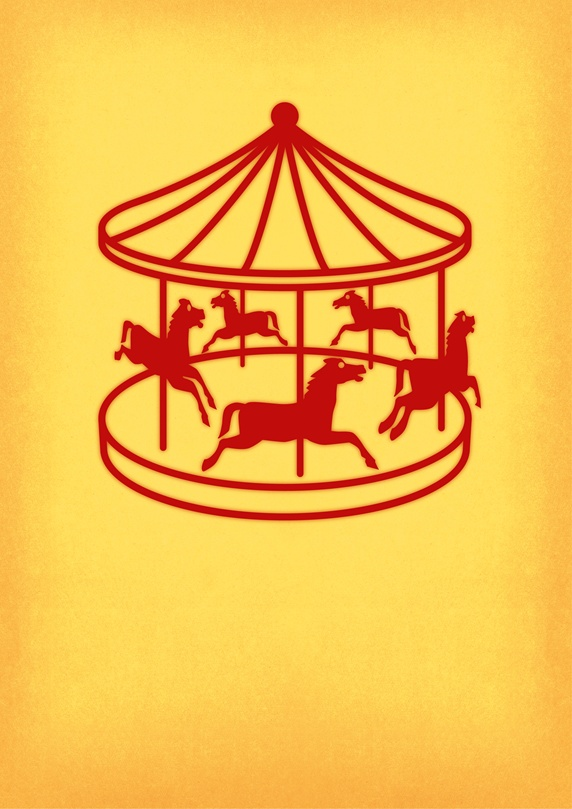 Red carousel on yellow background