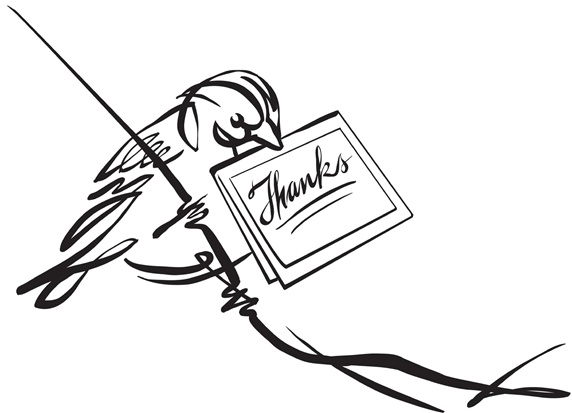Bird with thank you note