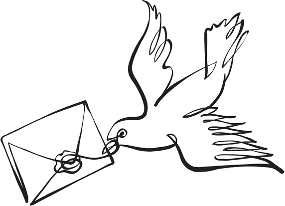 Pigeon carrying envelope