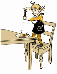 Girl standing on chair peppering meal