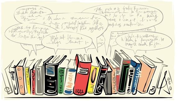 Books in row and speech bubbles