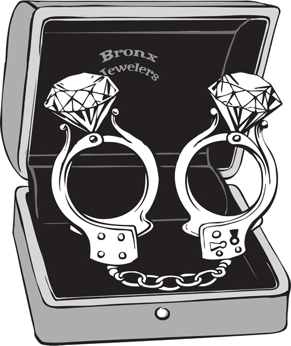 Handcuffs with diamonds in box