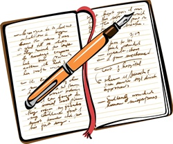 Open diary with fountain pen