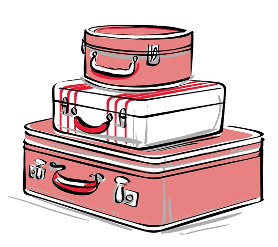 Stack of suitcases on white background