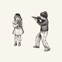 Boy threatening girl with toy gun
