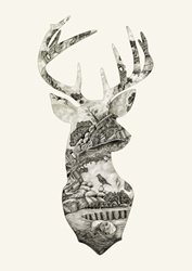 Silhouette of deer with nature pattern