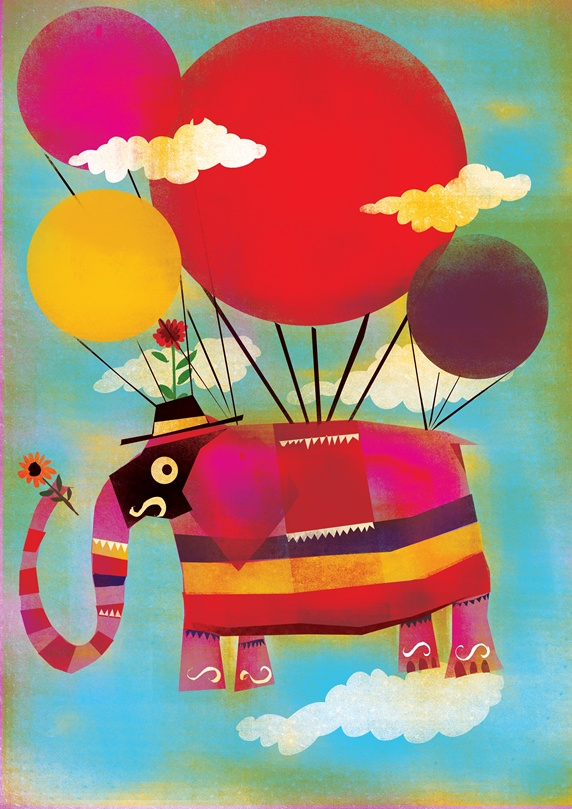 Elephant flying on balloons