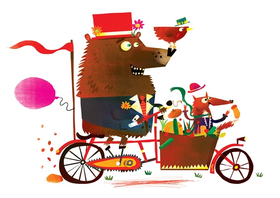Bear and fox riding cargo bicycle