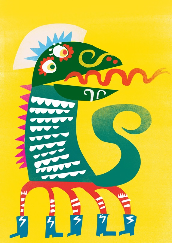 Colorful dragon on yellow background