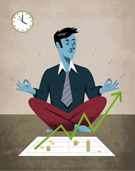 Man meditating in front of financial chart