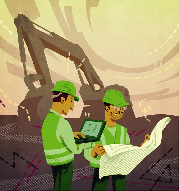 Two engineers working at construction site