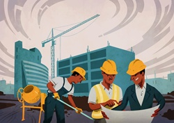Three men working at construction site