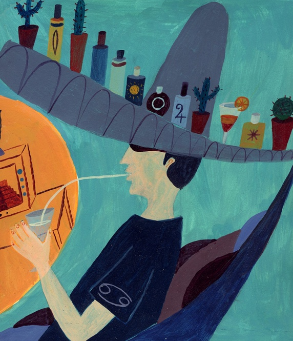 Man in sombrero with bottles and cactuses on top drinking cocktail