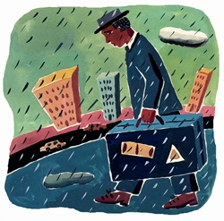 Sad man carrying suitcase struggling in rain