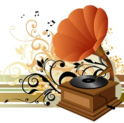 Orange gramophone