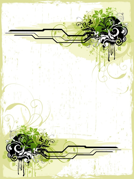 Black lines and green flowers