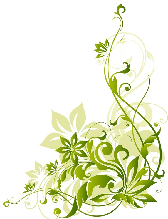 Green flowers on white background