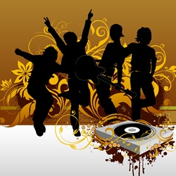 Silhouettes of people dancing with turntable on background