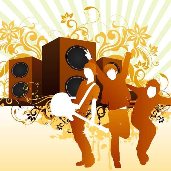 Men dancing with large speakers on background
