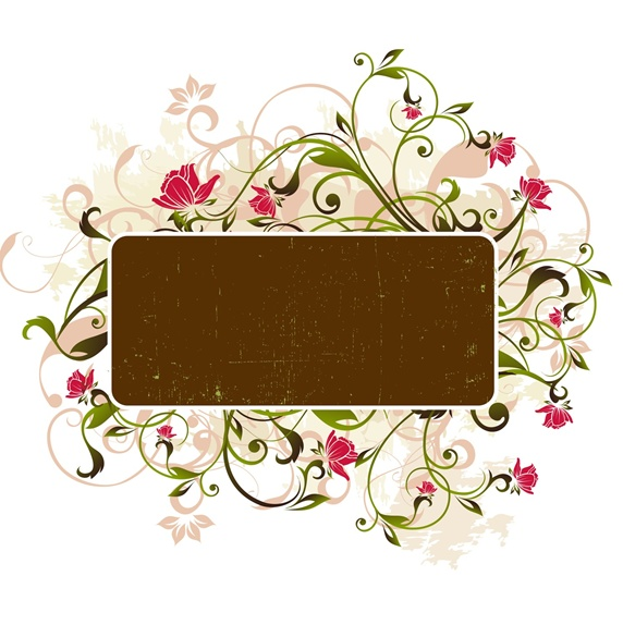 Flowers and brown rectangle