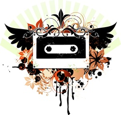 Audio cassette with wings and flowers