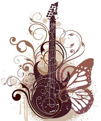 Electric guitar with butterfly wing and curled up plant
