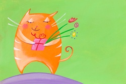 Cat holding gift and flowers