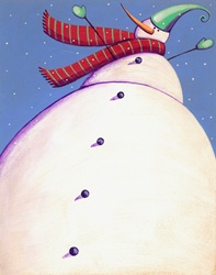 Low angle view of tall snowman
