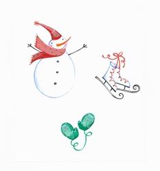Snowman, gloves and skates