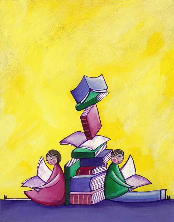 Children sitting reading leaning against pile of books