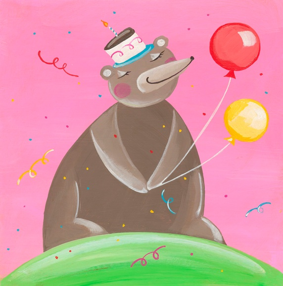 Cute bear with birthday cake on head and holding party balloons