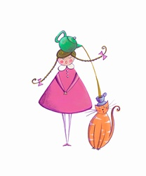 Girl pouring tea for pet cat from teapot into teacup on heads