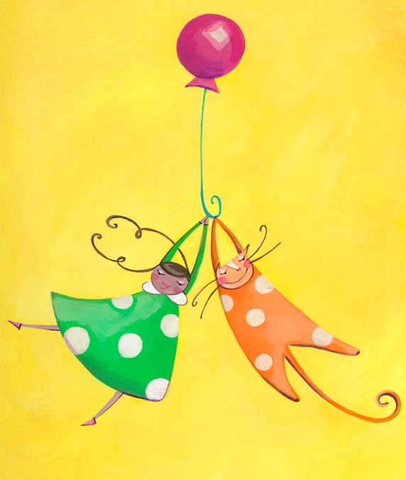 Girl and cat playing together with balloon