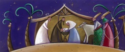 Nativity scene with adoration of magi