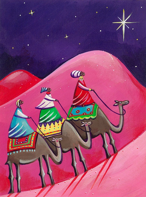 Three kings following christmas star on camels