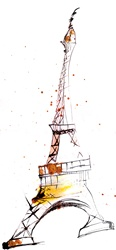 France, Paris, Drawing of Eiffel Tower