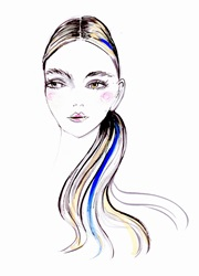 Fashion illustration of young woman with blue highlights