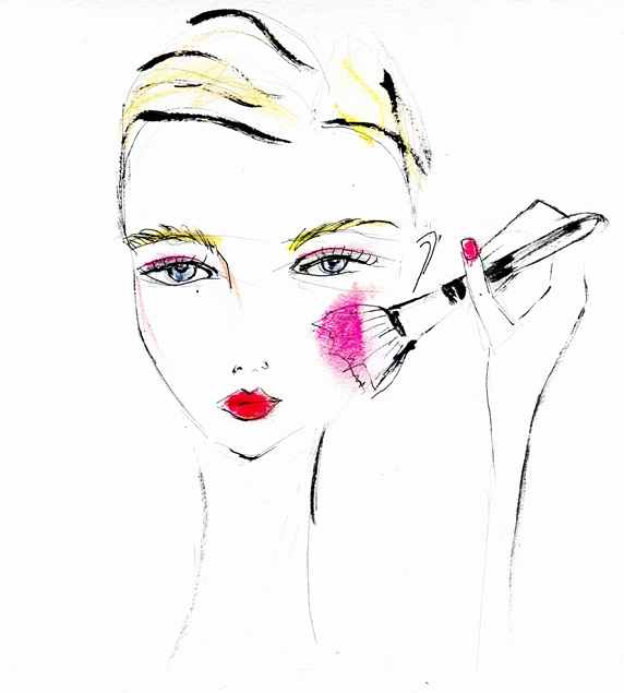 Fashion illustration of young woman applying blusher