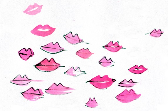 Pink lips on white background