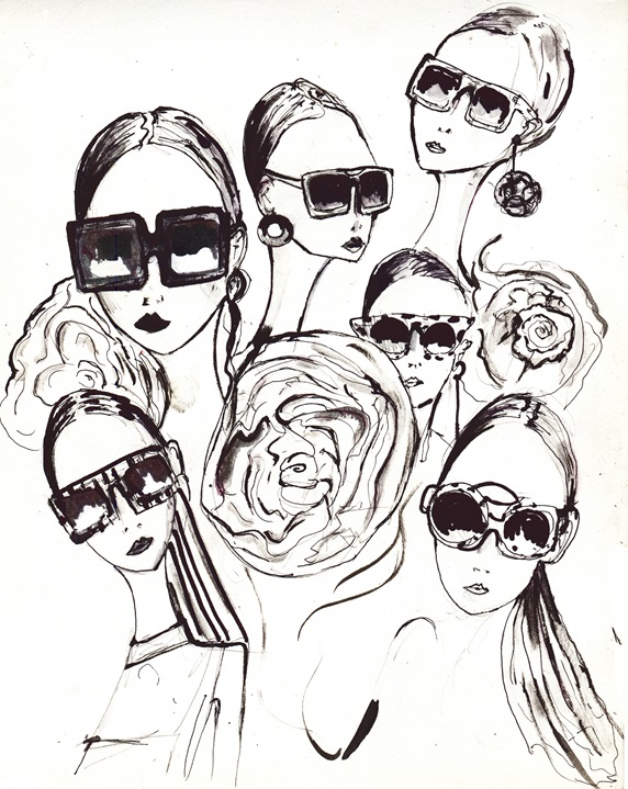 Group of women wearing various sunglasses