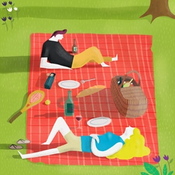 Man and woman relaxing at picnic