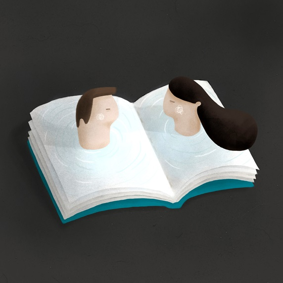 Man and woman heads emerging from book