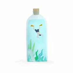 Man swimming in bottle