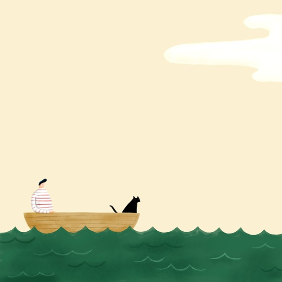 Person and cat in boat