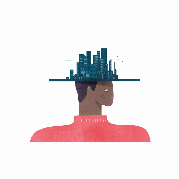 Man wearing cityscape hat