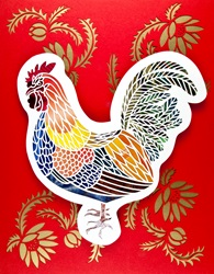Colorful rooster on red background