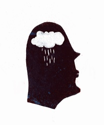 Rain falling from cloud inside of silhouetted profile of man's head