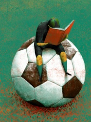 Girl sitting on giant soccer ball and reading book