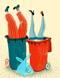 Woman and man upside down in garbage bins