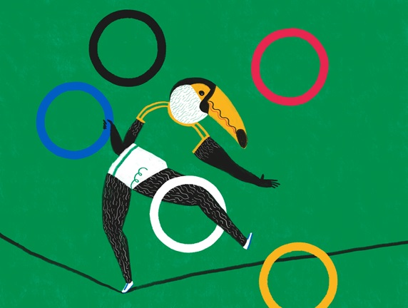 Toucan balancing on rope with Olympic rings